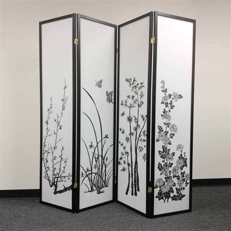 fold up screen room divider legacy 4 panels room divider folding screen shoji bamboo floral black ebay
