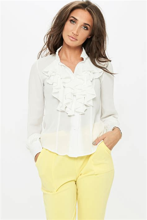 Ruffle Blouse megan mckenna white ruffle blouse