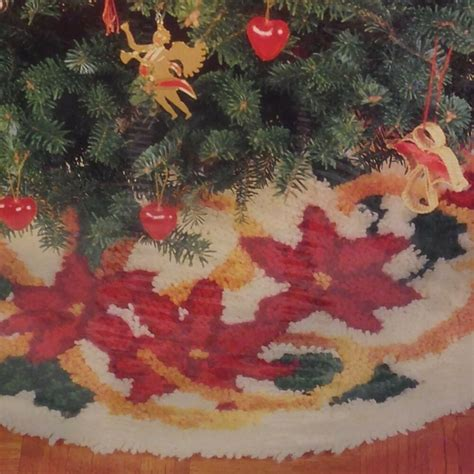latch hook christmas tree skirt kits wonderart latch hook tree skirt kit poinsettia and ribbons 33 quot ebay