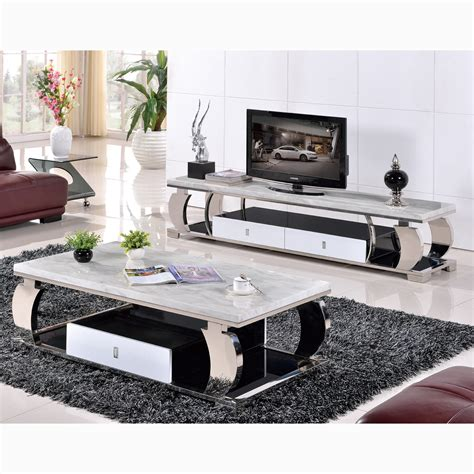glass living room furniture 608 grade stainless steel marble glass coffee table tv