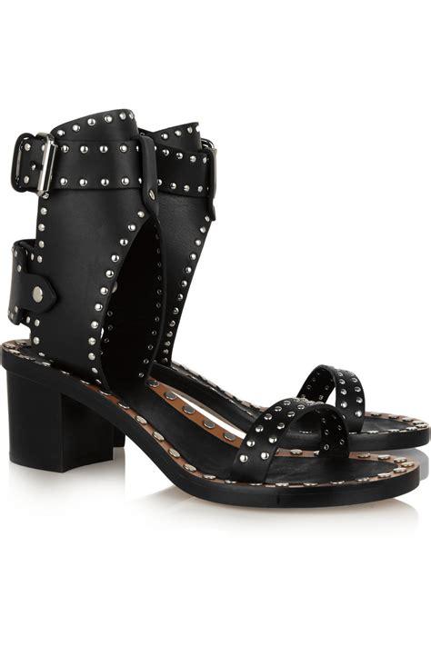 studded leather sandals lyst marant jaeryn studded leather sandals in black