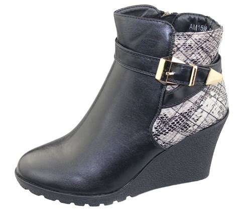 womens wedge heel ankle boots chelsea buckle high