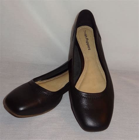 black flat womens shoes black slip on flat dress shoes size 8m hush puppies