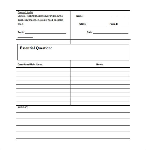 novel notes template cornell notes template 51 free word pdf format