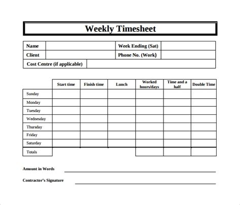 15 Sle Weekly Timesheet Templates For Free Download Sle Templates Free Weekly Timesheet Template