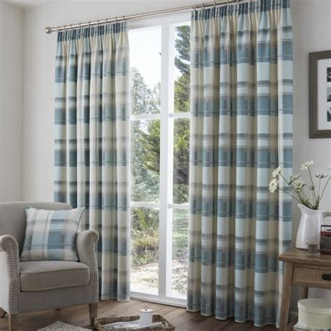 blue and cream curtains check tape top lined curtains red stripe