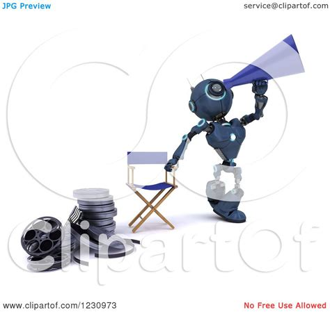 robot film director name clipart of a 3d blue android robot movie director