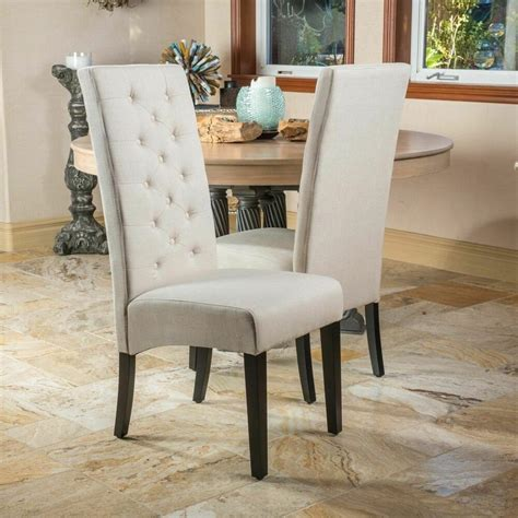 set   tufted high  linen parsons dining chairs ebay