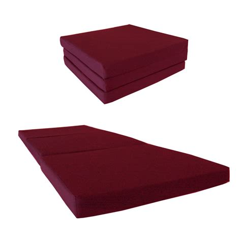 trifold foam bed burgundy trifold foam bed 3x27x75 1 8 lbs density white
