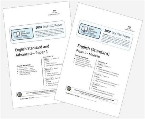 2009 Trial B Hsc English Standard Papers 1 Amp 2 Total