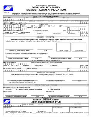 sss loan application form official receipt philippines forms and templates