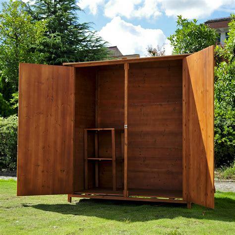 wooden overlap garden sheds wood tool storage log chest