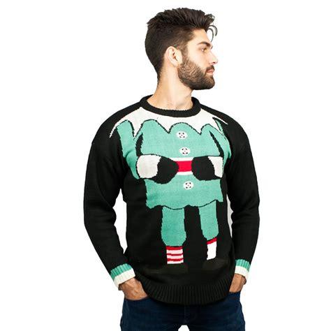 black pattern christmas jumper c3006 bk men christmas jumper with elf pattern black