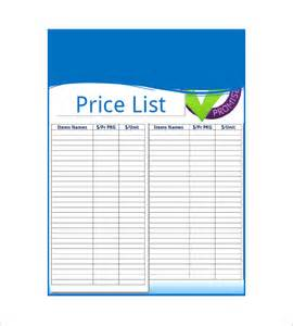 price list design template price list template 10 free word excel pdf format