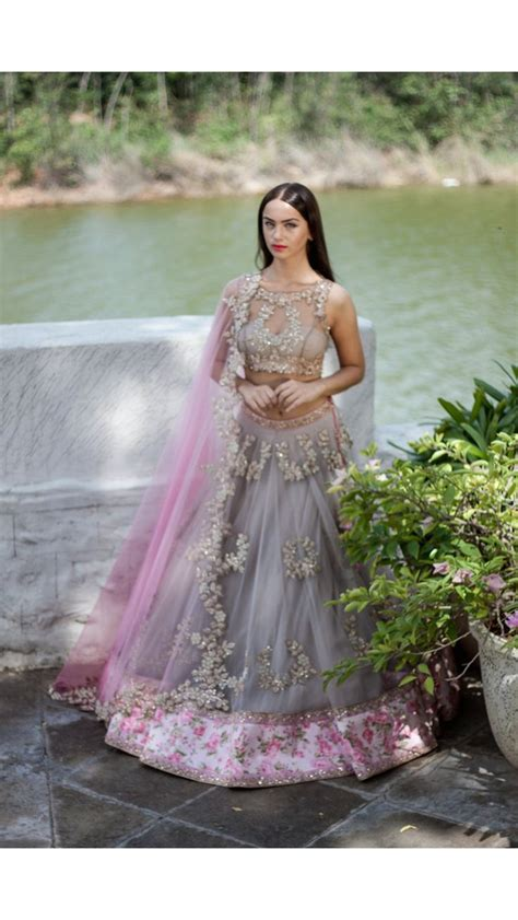 grey  pink lengha set bridal dresses indian bridal