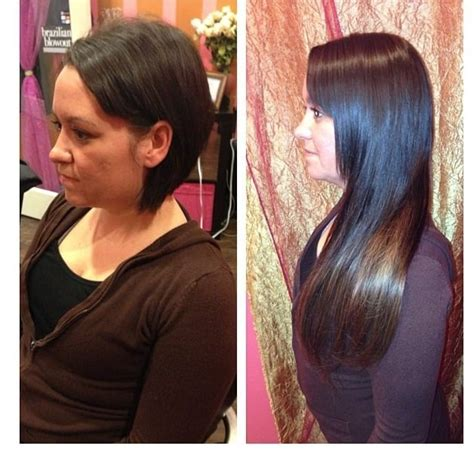 is there any picture showing short weave to plait tape hair extension go from short to long in 90 mins yelp