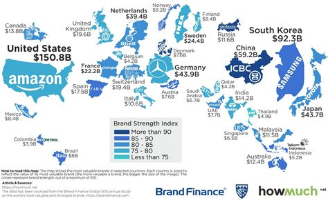 sa s most valuable brands map the most valuable brand in each country in 2018