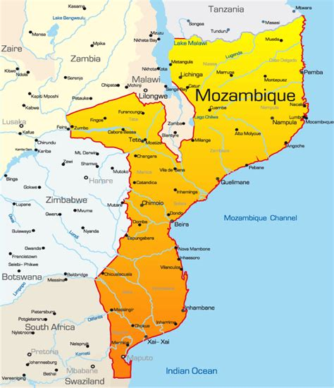 map of mozambique cities distances within mozambique mozambique travel