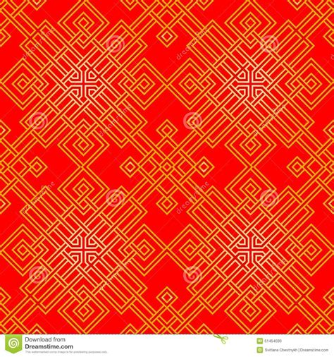 chinese gold pattern vector tangled oriental pattern in red and gold seamless stock
