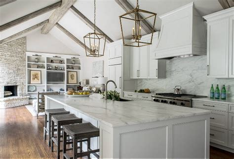 beautiful calacatta marble for interior design attractive remodeled white kitchen with vaulted ceiling beams home