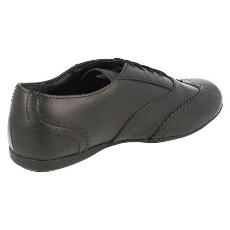 junior clarks black leather brogue lace up school