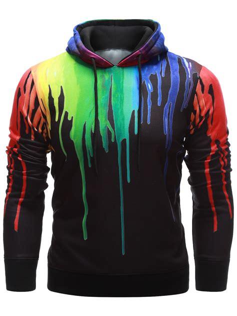 hoodies black drawstring paint hoodie gamiss