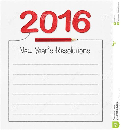 new year 2016 writing paper 2016 new year resolution on white paper with pencil and