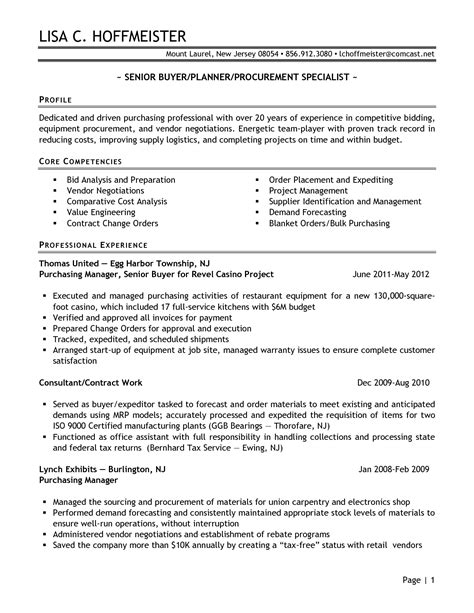 example of purchasing resume procurement manager finance
