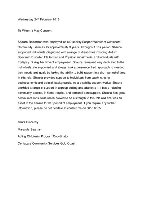 Support Worker Reference Letter Sle Shauna S Reference Letter