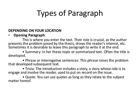 Paragraph Types | types of paragraph