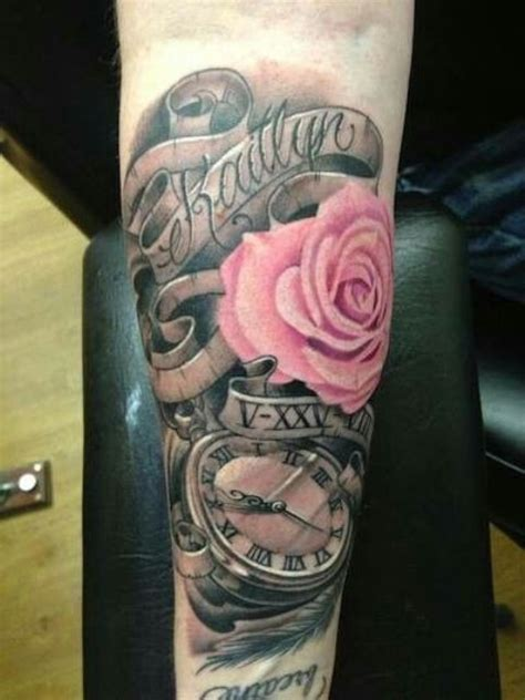 picture of baby name tattoo with pink rose