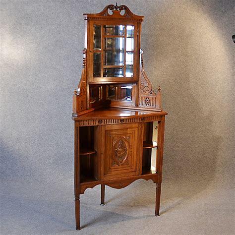 Antique Corner Cabinet China Display Cupboard Victorian Walnut English C1880   261193