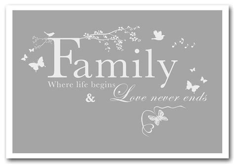 family where begins grey white text quotes framed