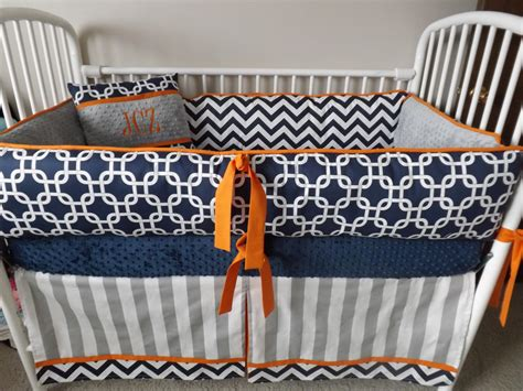 Baby Boy Bedding Crib Sets Navy Chevron Gray Orange Bumper Chevron Boy Crib Bedding