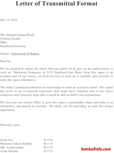 letter of transmittal example oyle kalakaari co