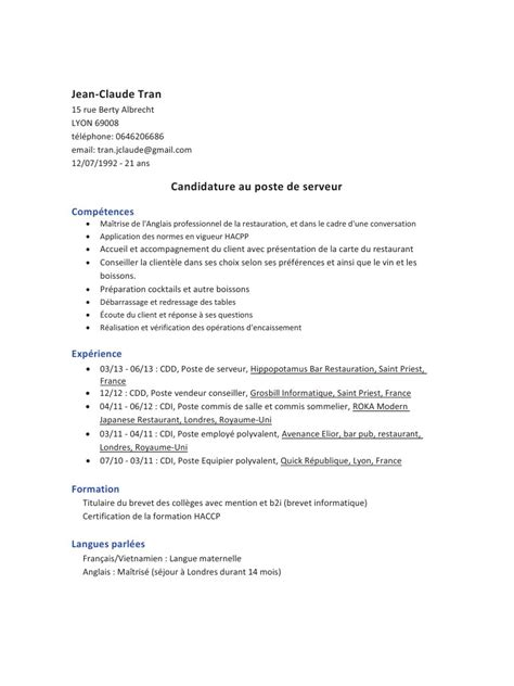 Lettre De Motivation Anglais Serveuse Exemple Cv Anglais Serveur Document