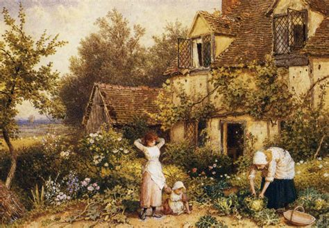 the cottage painting file myles birket foster at the cottage door jpg