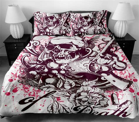 skull bed sheets skull wing pattern duvet quilt cover set pillowcase queen