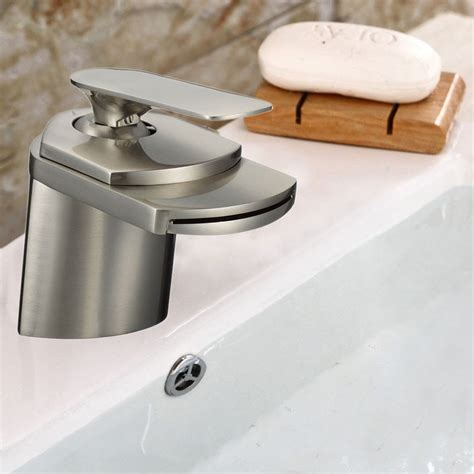 Waterfall Faucet Canada by Basin Sink Waterfall Faucet Brass In Brushed Nickel