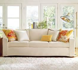 sofa in living room the pottery barn b b