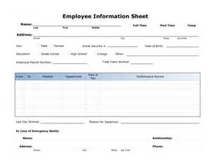 Information Sheet Template by 8 Best Images Of Printable Employee Information Form New