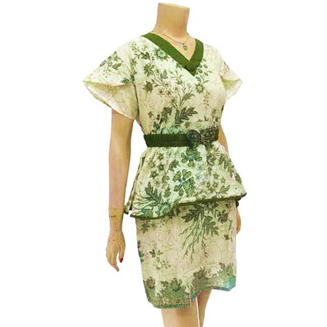 Motif Bunga Hijau baju dan busana muslim wanita dress batik motif bunga hijau
