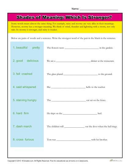 100 words need to read by 1st grade sight word practice to build strong readers shades of meaning vocabulary worksheet which is stronger