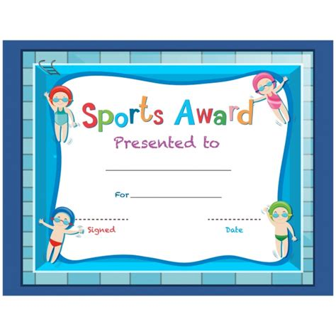 certificate design sports childish sport certificate design vector free download