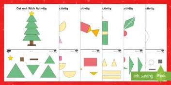 Christmas Themed Cut and Stick 2D Shape Worksheet / Activity