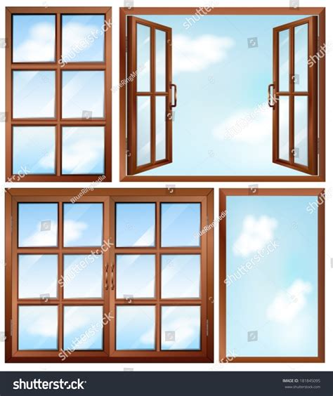 Different Windows Designs Illustration Of The Different Window Designs On A White Background 181845095