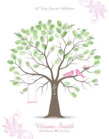Baby shower thumbprint tree guest book alternative with ink pad