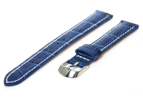 Hb Croco Doff Blue watchstrap blue 16mm calf leather sale