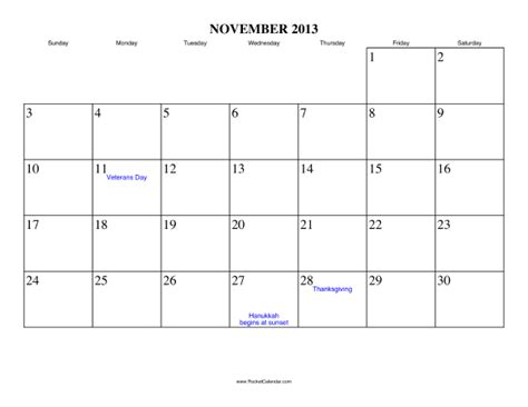 Thanksgiving 2013 Calendar November 2013 Calendar