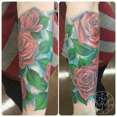 dotwork tattoo edmonton colourful dose and flower half sleeve tattoo and shoulder